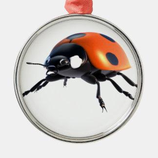 Marienkäfer, abgeschieden, glänzend, nützlich, rundes silberfarbenes ornament