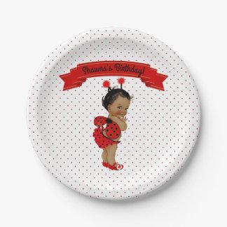 Marienkäfer-Afroamerikaner-Baby-Rot-Punkte Pappteller