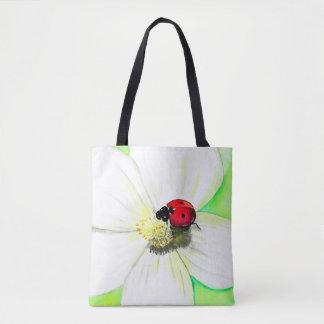 Marienkäfer auf weißer Blume Tasche