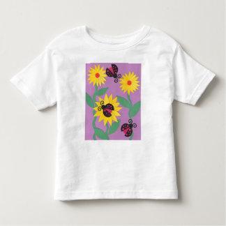Marienkäfer-Blumen Kleinkinder T-shirt