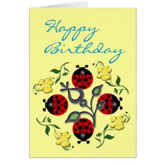 Marienkäfer-Geburtstag Karte