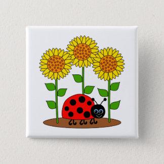 Marienkäfer im Sonnenblume-Garten Quadratischer Button 5,1 Cm