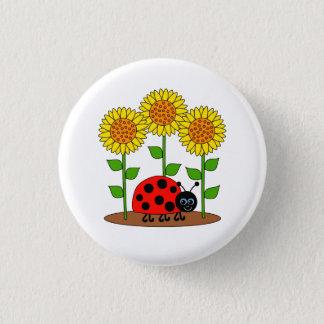 Marienkäfer im Sonnenblume-Garten Runder Button 2,5 Cm