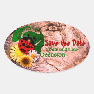 Marienkäfer Save the Date Ovaler Aufkleber