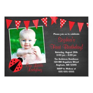 Marienkäfer-Tafel-Foto-Geburtstag 12,7 X 17,8 Cm Einladungskarte