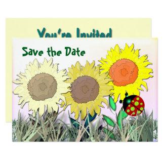 Marienkäfer und Sonnenblumen Karte