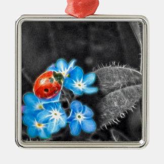 Marienkäfer-Wunder Quadratisches Silberfarbenes Ornament