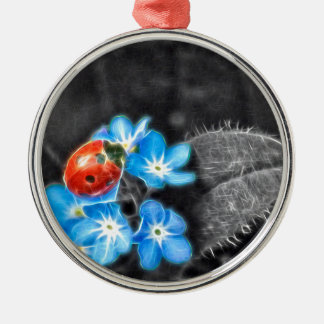 Marienkäfer-Wunder Rundes Silberfarbenes Ornament