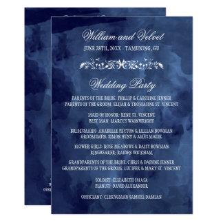 Marine-Aquarell-böhmische Hochzeits-Programme Karte