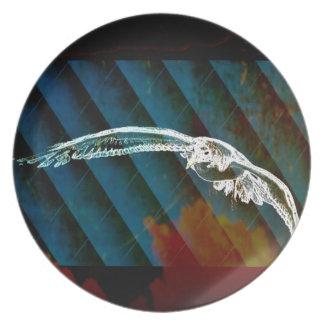 Marine-Blau-abstrakte Ozean-Vögel, die Seemöwe Melaminteller