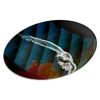 Marine-Blau-abstrakte Ozean-Vögel, die Seemöwe Teller