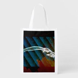 Marine-Blau-abstrakte Ozean-Vögel, die Seemöwe Wiederverwendbare Einkaufstasche