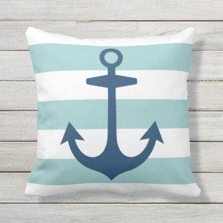 Marine-Blau-Anker mit Seestreifen | Kissen
