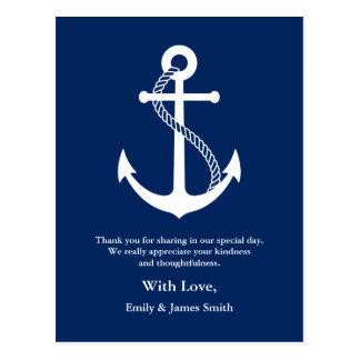 Marine-Blau-Anker-Seehochzeit danken Ihnen Postkarte