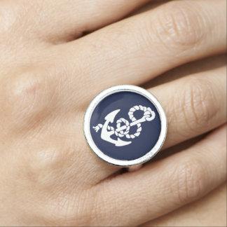 Marine-Blau-Anker-Seemuster Ring