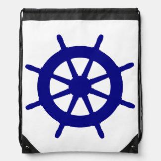 Marine-Blau auf weißem Küstenschiffs-Helm Turnbeutel