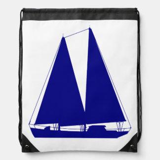 Marine-Blau auf weißem KüstenSegelboot Sportbeutel