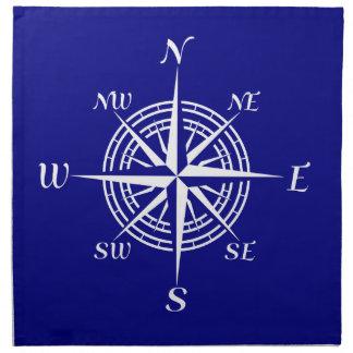 Marine-Blau auf weißer Küstenkompass-Rose Serviette