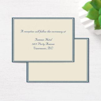 Marine-Blau/beige gerahmter Hochzeit UAWG Empfang Visitenkarte