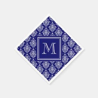 Marine-Blau-Damast-Muster 1 mit Monogramm Serviette
