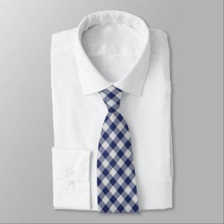 Marine-Blau-Gingham-Karo - diagonales Muster Krawatte