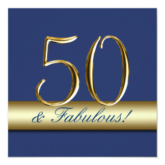 Marine-Blau-Gold 50 und fabelhafter Geburtstag Quadratische 13,3 Cm Einladungskarte