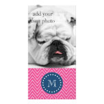 Marine-Blau, heißes Rosa-Zickzack Muster, Ihr Mono Bildkarten