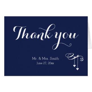 Marine-Blau-Hochzeit danken Ihnen Karten mit