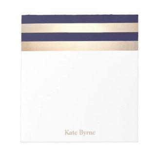 Marine-Blau-Imitat-Goldfolie Stripes Namen Notizblock