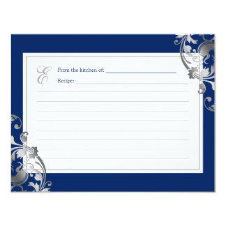 Marine-Blau-Imitat-Silber blühen 10,8 X 14 Cm Einladungskarte