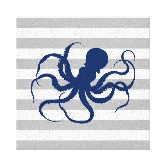 Marine-Blau-Kraken-graue und weiße Streifen Leinwanddruck