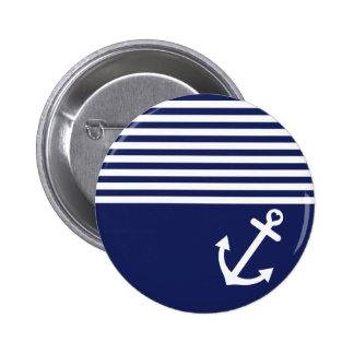 Marine-Blau-Liebe-Anker nautisch Runder Button 5,1 Cm