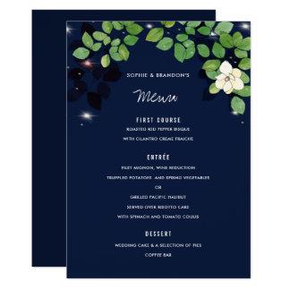 Marine-Blau-Magnolien-Garten-Hochzeits-Menü-Karte Karte