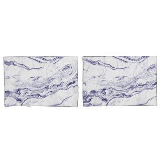 Marine-Blau-Marmor Kissen Bezug