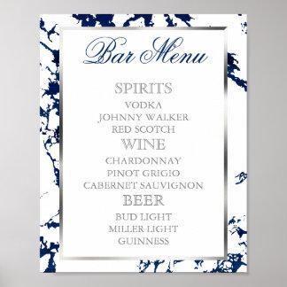 Marine-Blau-Marmor, Silber u. Weiß - Bar-Menü Poster