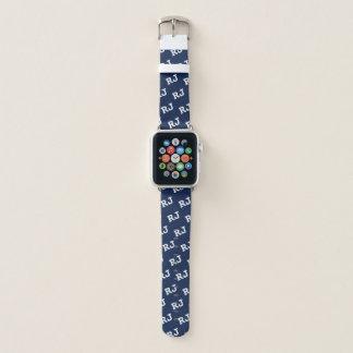 Marine-Blau-mit Monogramm Motiv-Apple-Uhrenarmband Apple Watch Armband