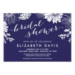 Marine-Blau-modernes BlumenBrautparty Personalisierte Einladungskarte