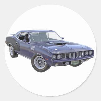 Marine-Blau-Muskel-Auto 1971 Runder Aufkleber