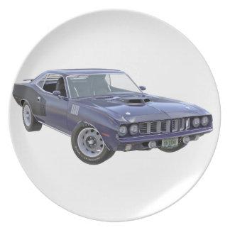 Marine-Blau-Muskel-Auto 1971 Teller