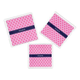 Marine-Blau-Namen-Monogramm des Pink-2 weißes des Acryl Tablett