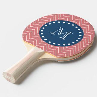 Marine-Blau, Pfirsich-Zickzack Muster | Ihr Tischtennis Schläger