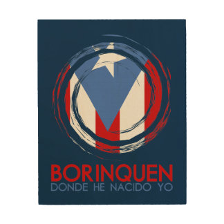 Marine-Blau Puerto Rico Borinquen Holzdruck