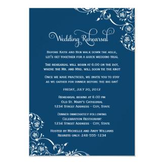 Marine-Blau-Rolle der Hochzeits-Proben-| 12,7 X 17,8 Cm Einladungskarte