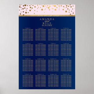 Marine-Blau, Rosa und Gold - setzendes Diagramm 16 Poster