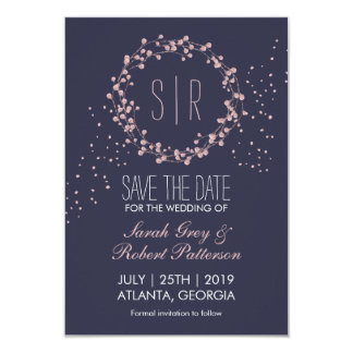 Marine-Blau-RosablumenWreath, der Save the Date 8,9 X 12,7 Cm Einladungskarte