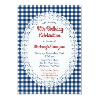 Marine-Blau-rustikale Gingham-Geburtstags-Party Karte