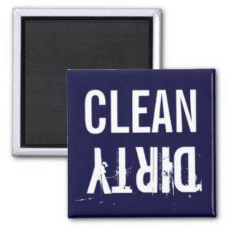 Marine-Blau-sauberer schmutziger Spülmaschinen-Küc Quadratischer Magnet