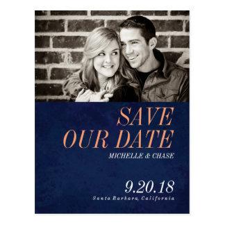 Marine-Blau-Save the Date Foto-Postkarte Postkarten