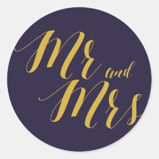 Marine-Blau-schicker Herr und Frau Wedding Round Runder Aufkleber