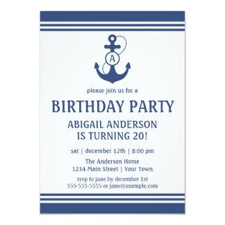 Marine-Blau-Seegeburtstags-Party Einladungen